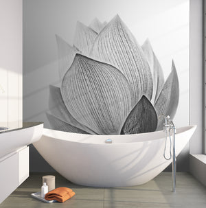 Black and White Lotus Flower Wall Mural #6116