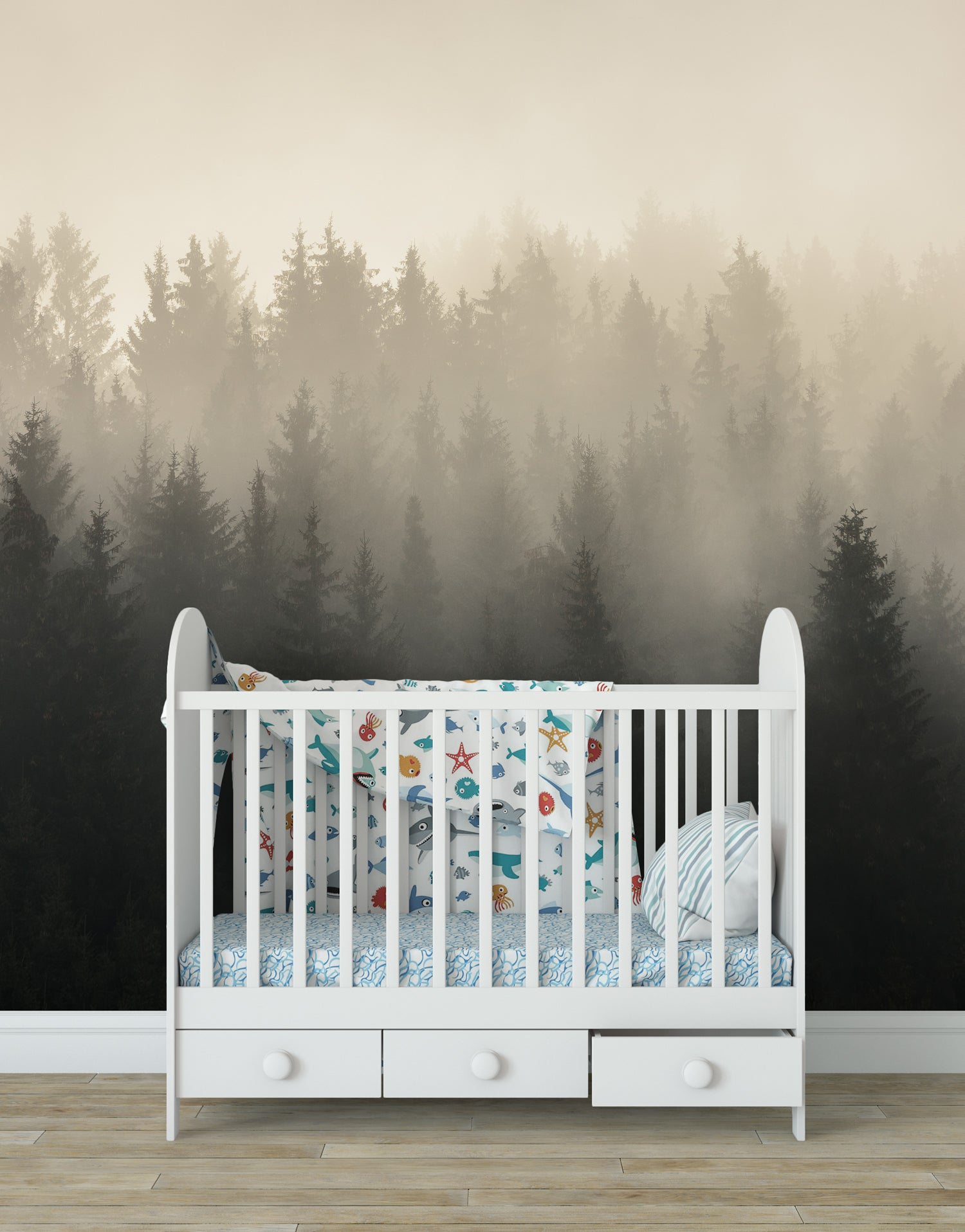 Misty Pine Forest Wall Mural. #6122