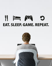 Eat Sleep Game Repeat Gamer Wall Decal Quote. #6123