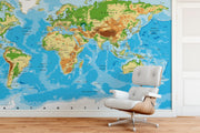 Large Blue World Map Wall Mural. #6134