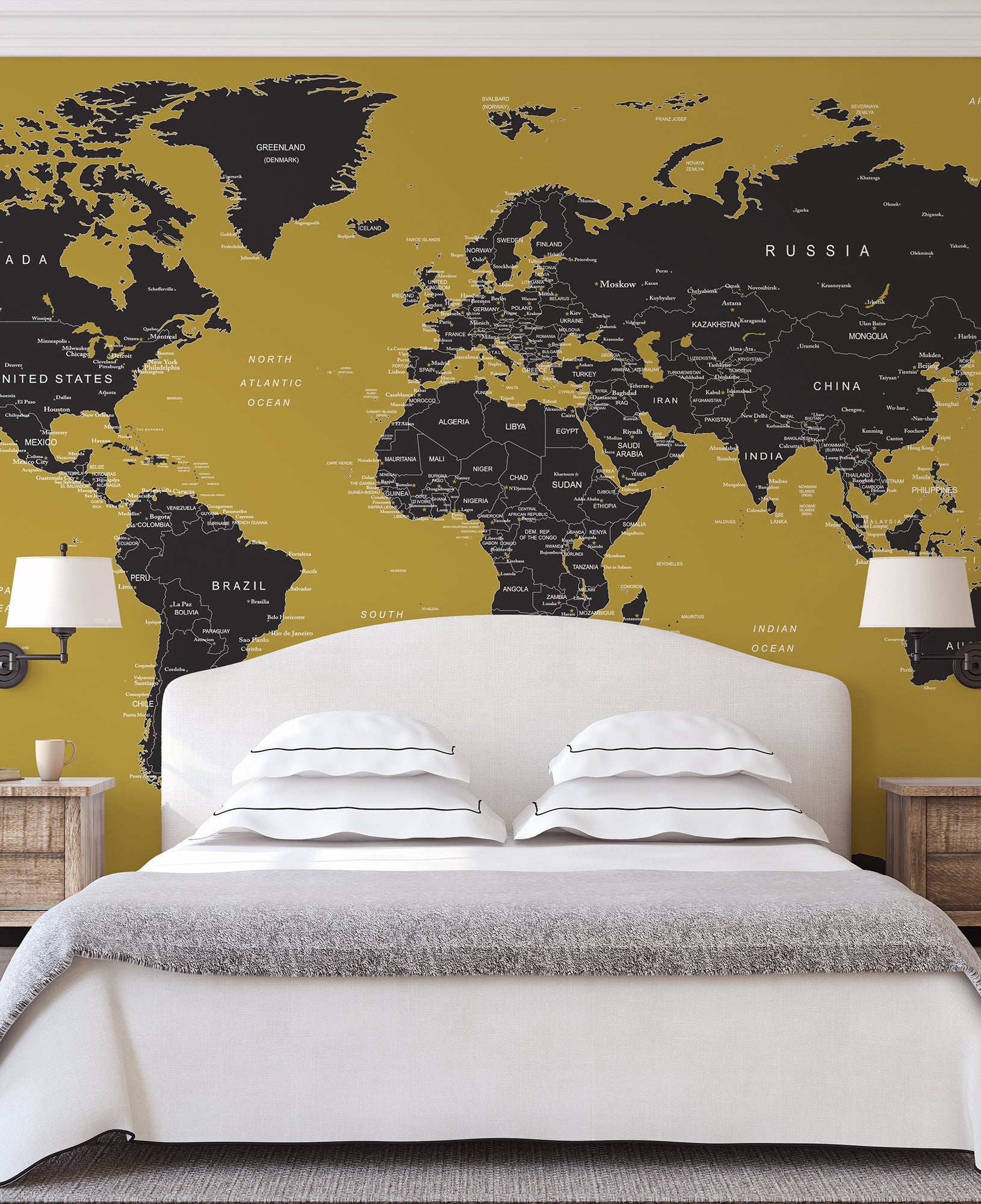 GOLD World Map Wall Mural. #6135