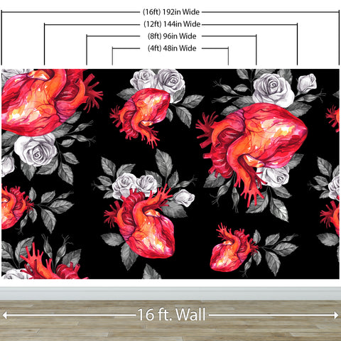 Valentines Hearts and Roses Watercolor Pattern Wall Mural. Black background. #6136