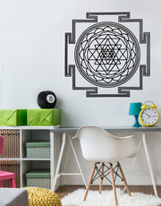 Sri Yantra Square Mandala Vinyl Wall Decal Design. #6137