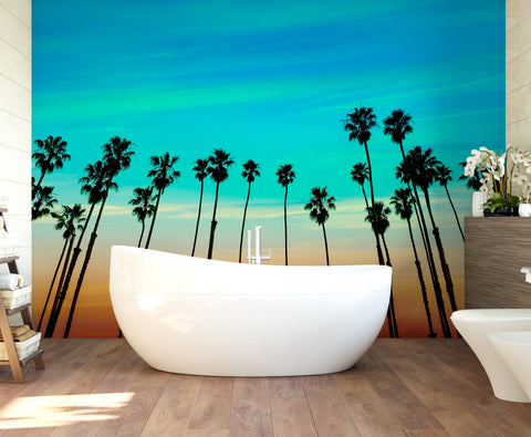 California SoCal Tropical Sunset Palm Trees Large Wall Mural. #6139