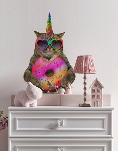 Colorful Unicorn Cat with Donut Wall Graphic / Car Graphic. #6140