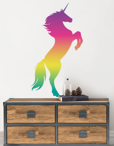 Rainbow Unicorn Wall Decal Sticker. Girl's bedroom decor. Fantasy Silhouette Design. #6141