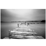 Misty Lake View Boat on Pier Black and White Mural Wall Decal Sticker #6143