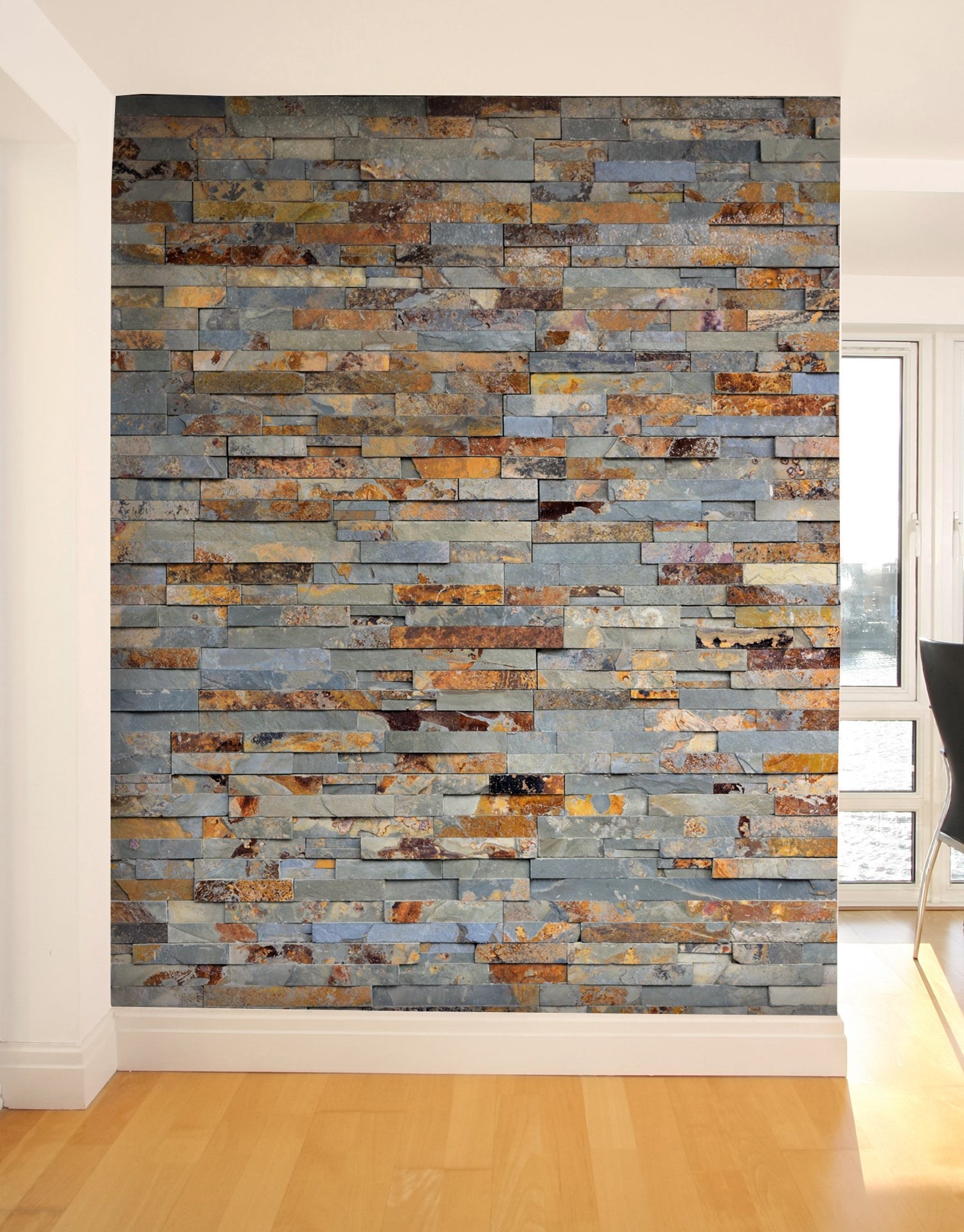 Colorful Rustic Natural Slate Brick Stone Wall Mural Sticker #6145