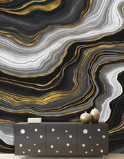Black and Gold Abstract Marble Stone Pattern Peel and Stick Wallpaper. #6146-2