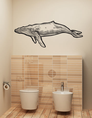 Large Humpback Whale Wall Decal Sticker. #6147