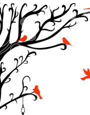 Swirly Tree with Bird Cage Wall Decal Sticker. #6148