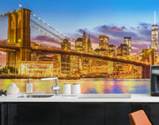 New York City Brooklyn Bridge Wall Mural Decal Sticker. Iconic night scene photo of Manhattan NYC. #6149