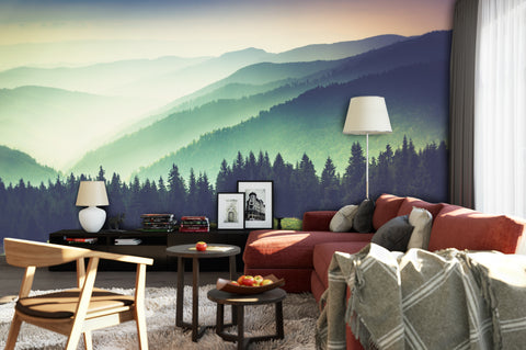 Colorful Foggy Mountain Forest View Wall Mural | Peel and Stick Wallpaper. #6159