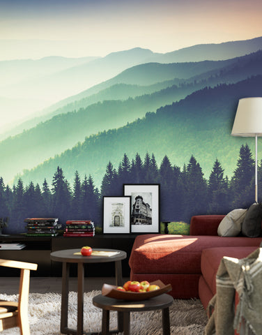 Colorful Foggy Mountain Forest View Wall Mural Peel And Stick Wallpaper 6159 Stickerbrand