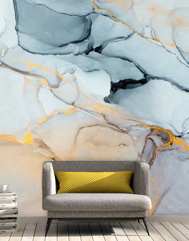 Marble Stone Quartz Pattern Wall Mural. (Grey, Blue, Gold, Yellow) #6166
