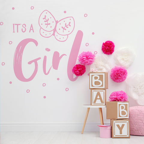 It's a Girl Gender Reveal Vinyl Wall Decal Sticker. Perfect decoration for a Baby Reveal / Baby Shower party. #6188