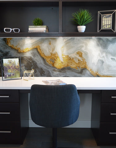 Gray and Gold Marble Stone Quartz Mural Wall Sticker #6190