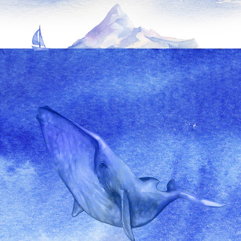 Whale in Ocean Wall Mural. Watercolor artwork of whale, island and sailboat. Peel and Stick Wallpaper. #6197