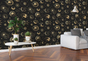 Astronomy Pattern Peel and Stick Wallpaper. Stars, Sun, Moon and Cloud. Removable Wall Mural #6208