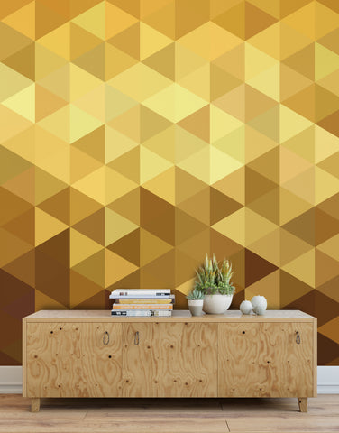 Gold Poly Triangle Geometric Elegant Peel and Stick Wallpaper | Removable Wall Mural #6209