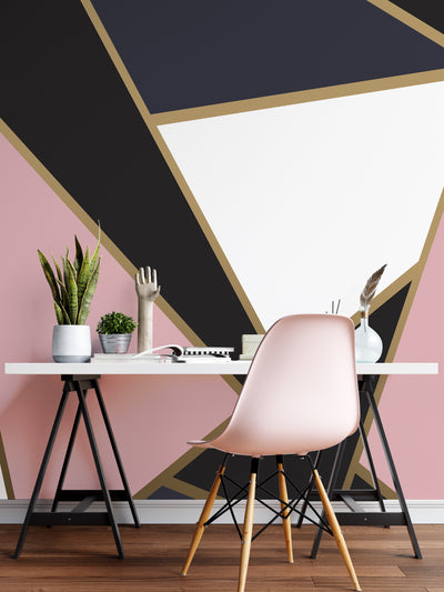 Modern Decor Gold, Black and Pink Mosaic Peel and Stick Wallpaper | Removable Wall Mural #6210
