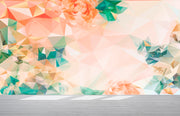 Geometric Pink Flower Pattern Peel and Stick Wallpaper | Removable Wall Mural #6211