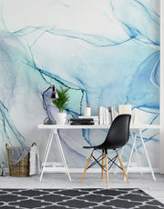Abstract Ink Pattern Peel and Stick Wallpaper. Removable Wall Mural. (Blue, Green, Purple) #6212