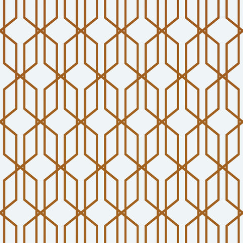 Modern Geometric Shape 3D Hexagon Bronze Lines Peel and Stick Wallpaper | Removable Wall Mural #6213
