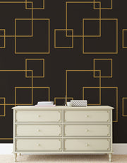 Dark Brown and Gold Square Geometric Pattern Peel and Stick Wallpaper | Removable Wall Mural #6215