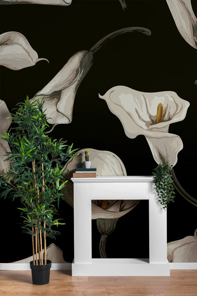 Elegant Rustic Tulip Flower Peel and Stick Wallpaper | Removable Wall Mural #6216