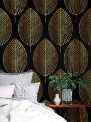 Gold Leave Autumn Pattern Peel and Stick Wallpaper | Removable Wall Mural #6217
