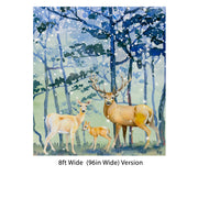 Deer Family in Snow Forest Peel and Stick Wallpaper | Removable Wall Mural. #6218