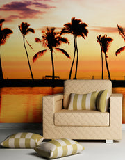 Tropical Sunset Palm Tree Paradise Wall Mural. #6236