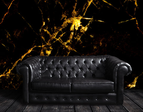 Black and Gold Abstract Marble Stone Peel and Stick Wall Mural. #6239
