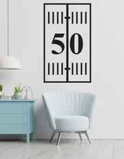 Football 50 Yard Line Vinyl Wall Decal. #6242