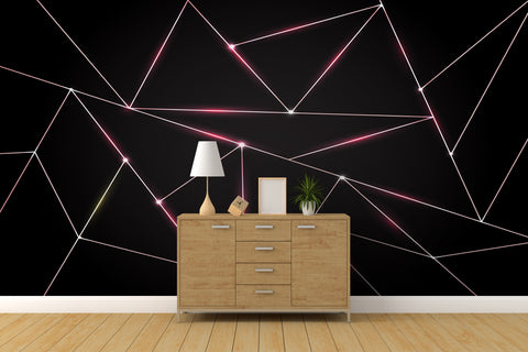 Luxury Polygonal Triangle Pattern Lines Shape. Peel and Stick Wall Mural. #6251