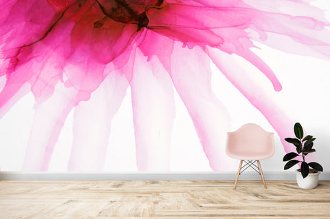 Pink Flower Watercolor Alcohol Ink Stain Abstract Design. Peel and Stick Wall Mural. #6252