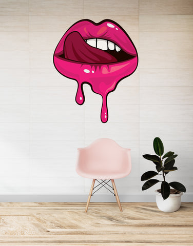 Sexy Lips Licking Wall Graphic Decal. #6253
