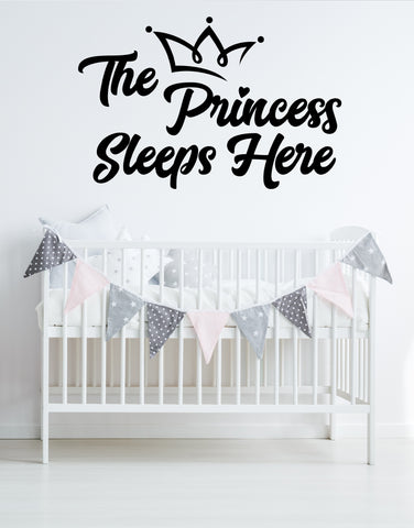 The Princess Sleeps Here Quote Wall Decal. #6254