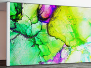 Alcohol Ink Abstract Pattern Peel and Stick Wallpaper Mural. (Lime, Green, Yellow, Purple Stained) #6257