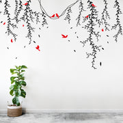 Birds and Butterflies on Vines Vinyl Wall Decal. #6258