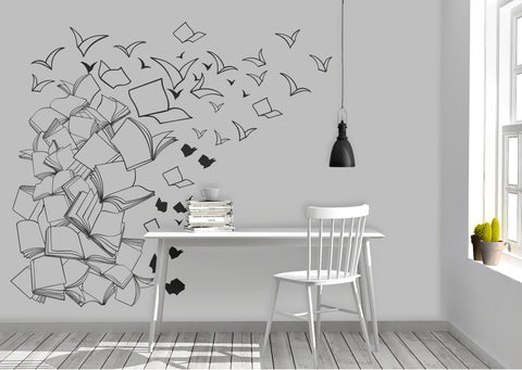 Flying Library Books Vinyl Wall Decal #6261