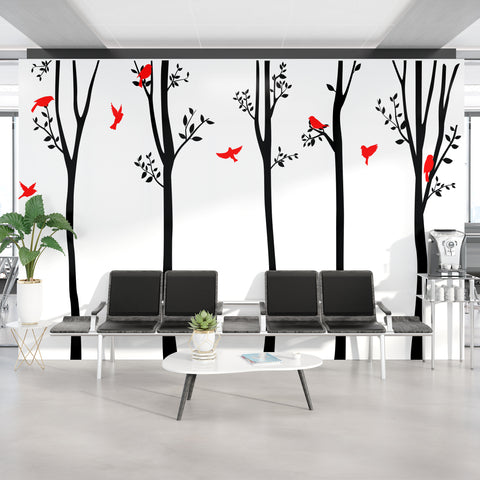 Timberland Forest Trees with Flying Birds Vinyl Wall Decal. #6263