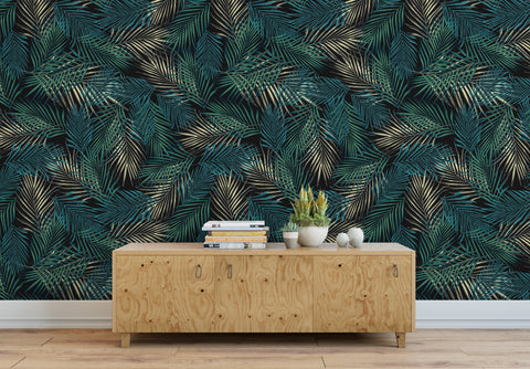 Tropical Palm Leave Pattern Peel and Stick Wall Mural. #6264