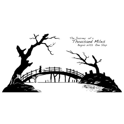 The Journey of a Thousand Miles Begins with One Step Quote Vinyl Wall Decal. Japanese Style Artwork. #6268