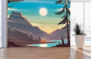 Colorful Colorado Mountain Sunset Mural #6270