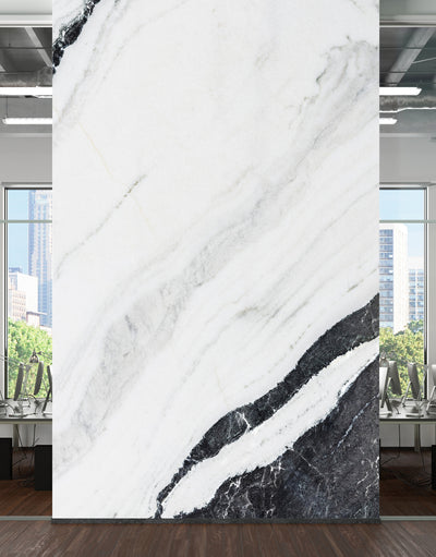 Black and White Marble Stone Granite Slate Wall Mural. Peel and Stick. #6273