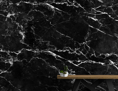 Black Marble Stone Granite Slate Peel and Stick Wallpaper | Removable Wall Mural #6274