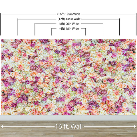 Peonies Flower Pattern Peel and Stick Wall Mural. Wedding Background. #6277