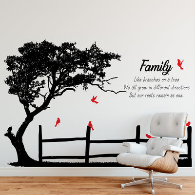 Like Branches on a Tree, We all grow in different directions But our roots remain as one Motivational Family Quote Vinyl Wall Decal. Tree with Birds. #6278